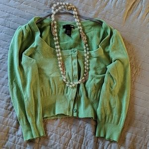 H and M green cropped cardigan sweater xs